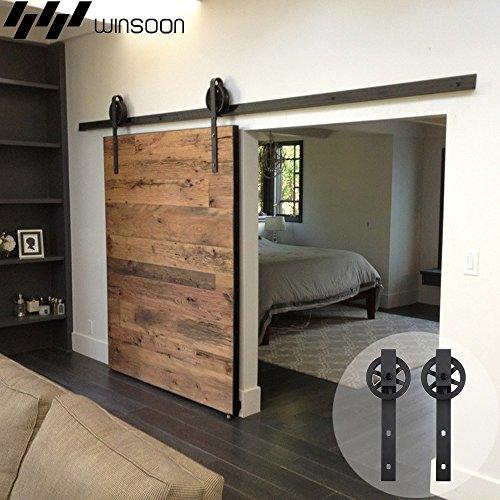 - WINSOON 5-16FT Single Wood Sliding Barn Door Hardware Basic Black Big Spoke Wheel Roller Kit Garage Closet Carbon Steel Flat Track System (16FT)
