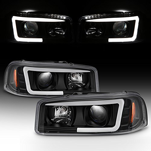 For 99-06 GMC Sierra 1500 2500HD 3500 C3 Yukon XL Black LED Tube Projector Headlights Driver+Passenger Side Pair