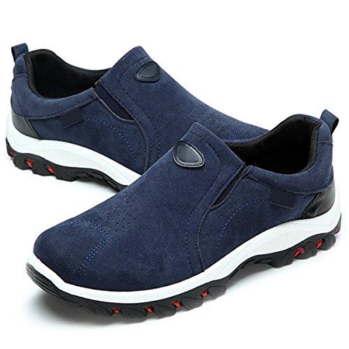 Gracosy Scarpe Sportive Outdoor, Scarpe Invernali Scarpe Casual Uomo Scarpe da Corsa Traspirante Scarpe da Trekking per Camminare Mocassini in Pelle Piatto Slip On Shoes Blu