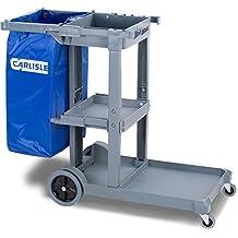 Carlisle JC1945S23 Polyethylene Short Platform Janitorial Cart, 300-Pound Capacity, 45-Inch Lengthx19-Inch Width 39-Inch Height, Gray
