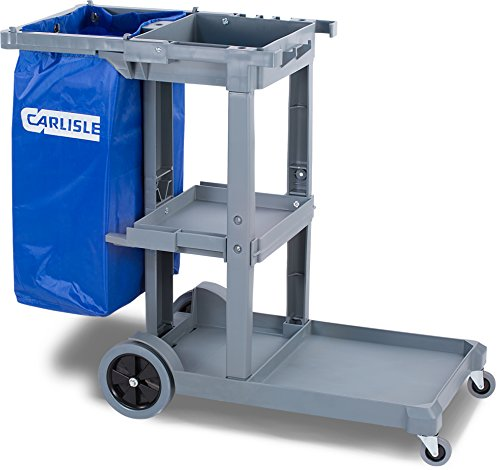 Carlisle JC1945S23 Polyethylene Short Platform Janitorial Cart, 300 lbs Capacity, 45'' Length x 19'' Width 39'' Height, Gray by Carlisle