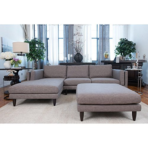 Retro Fabric Collection 2-Piece Right Facing Loveseat Sectional and Cocktail Ottoman in