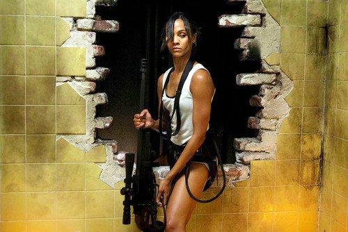 Zoe Saldana Columbiana Sexy Image Shorts Telescopic Gun 24x36 - Home Zoe Saldana