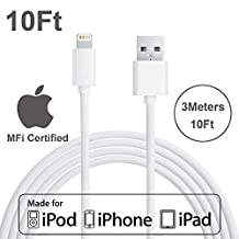 [Apple MFI Certified] Yellowknife® 10ft/3M Extra Long Lightning To USB Charger Cable Data Sync Charging Cord for Apple iPhone 6 6s Plus 5s 5c 5 iPad 2 3 4 Mini Air - White