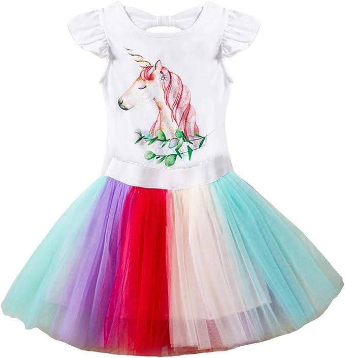 Amazon.com: Vestido de tirantes para niña, unicornio, arco ...