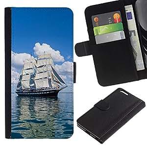 // PHONE CASE GIFT // Moda Estuche Funda de Cuero Billetera Tarjeta de crédito dinero bolsa Cubierta de proteccion Caso Apple Iphone 6 PLUS 5.5 / Vintage Skoonar Sail Boat /