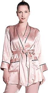 THXSILK Womens Luxury Silk Pajama Set with Robe