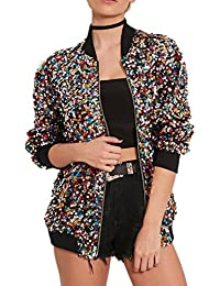 Women's Sequin Fitted Long Sleeve Zipper Blazer Bomber Jacket