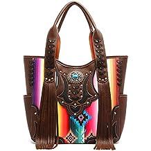 Western Handbag - Fringed Multi-colored Serape Top Handle Satchel Bag