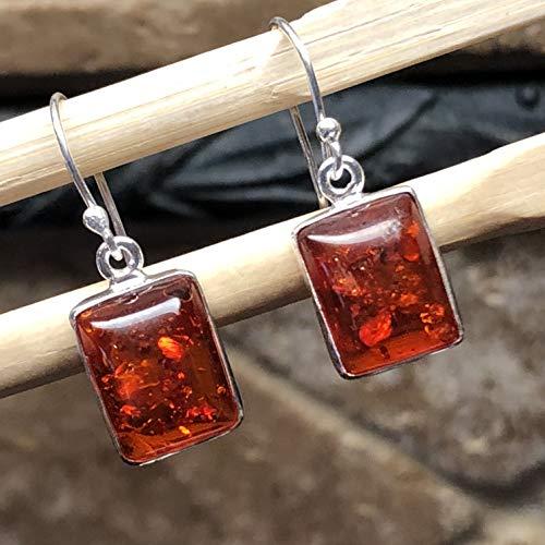 (Beautiful Baltic Amber 925 Solid Sterling Silver Dangle Earrings 25mm Long)