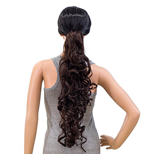 SWACC 24-Inch Long Messy Curls Claw Clip Ponytail Extensions Synthetic Clip in Drawstring Curly Ponytail Hairpiece Jaw Clip Hair Extensions (Dark Brown-4#)
