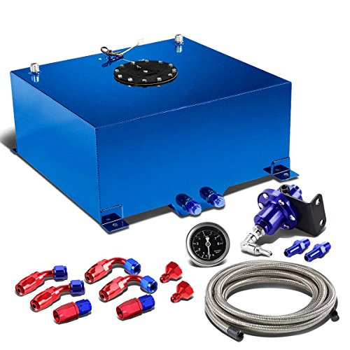15-Gallon Blue Gas Tank Black Cap+12 inches Fuel Line+Fittings+Blue Fuel Pressure Regulator ()