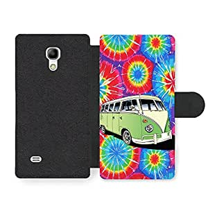 New Hippy Trippy Campervan Design Illustration Cool Art Faux Leather case for Samsung Galaxy S4 mini