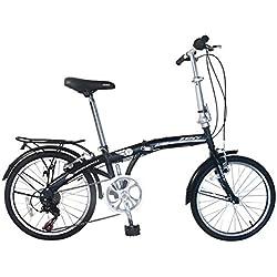 "Zeny Compact 20"" Folding Bike 7 Speed Bicycle Foldable Storage Shimano School Mountain (Black, 20"")"