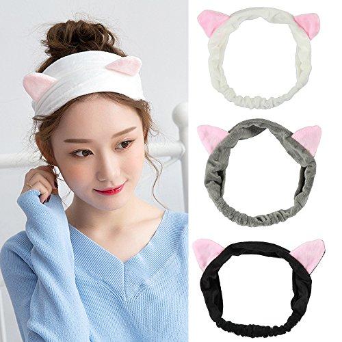 Fani Cute/Lovely Girls Womens Cat Ears Headband Women Beautiful Makeup Shower Face Washing Hairband Grey White and Black -