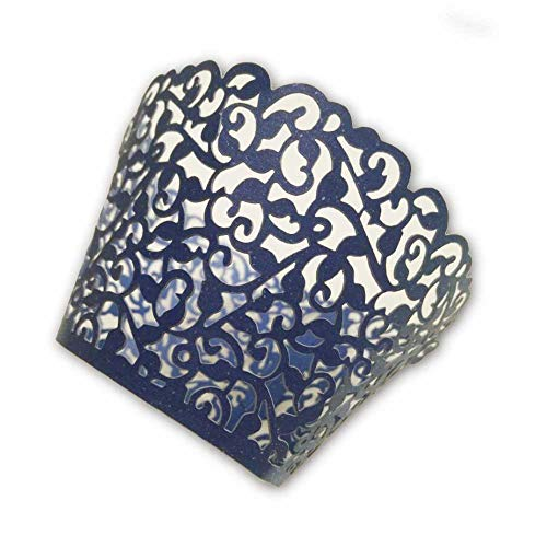Burgundy Cupcake Wrappers (navy blue Little Vine Laser cut Cupcake Wrapper Cup Cake Baking Muffin 60pcs,Standard)