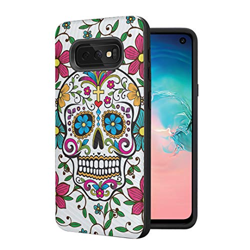 Moriko Case Compatible with Galaxy S10e [Tough Anti-Scratch Shock Absorption Cushion Protective Black Case Cover] for Samsung Galaxy S10e (S10 Lite) - (Sugar Skull Blue)