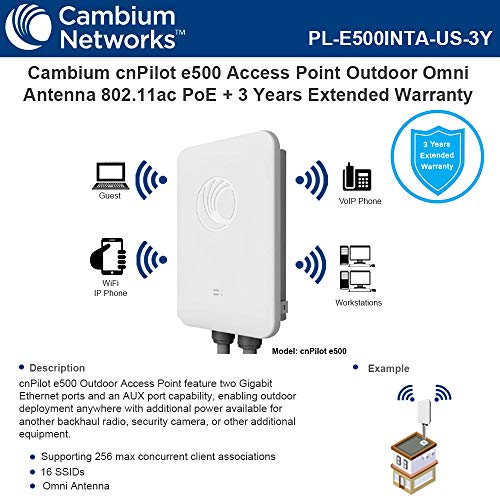 Cambium cnPilot e500 Access Point Outdoor Omni Antenna 802.11ac PoE with 3 Years Extended Warranty ()