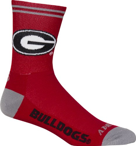 Adrenaline Promotions NCAA Georgia Bulldogs Cycling/Running Socks, Red, Large/X-Large ()