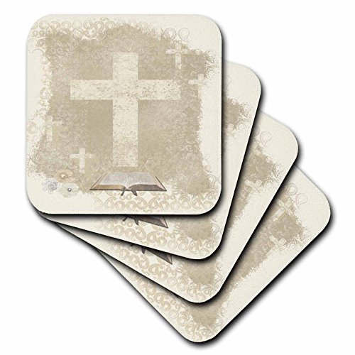 Cross Tile Coaster (3dRose cst_180922_3 Crosses with Open Bible, Sepia Ceramic Tile Coaster (Set of 4))