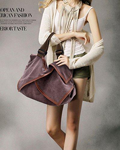 Aidonger Damen Vintage Canvas Schultertasche Handtasche Umhängetasche Lila-80 VKRdgA7