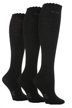 Girls 3 Pair Elle Plain Cotton Socks