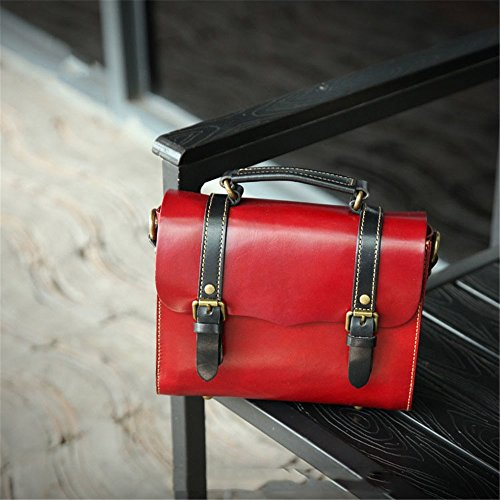 Tote Messenger Everyday Retro Large Bag For Use Cambridge Capacity Leather Cow Female Suitable color Red Asdflina Red 7YUqxwzXOq