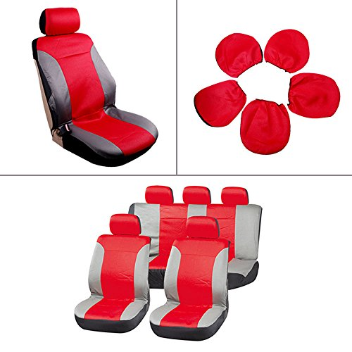Car Seat Cover,Stretchy Universal Seat Cushion w/Headrest 100% Breathable Automotive Accessories with Durable Washable Embossed cloth for Most Cars Trucks Vans(Red/Gray)