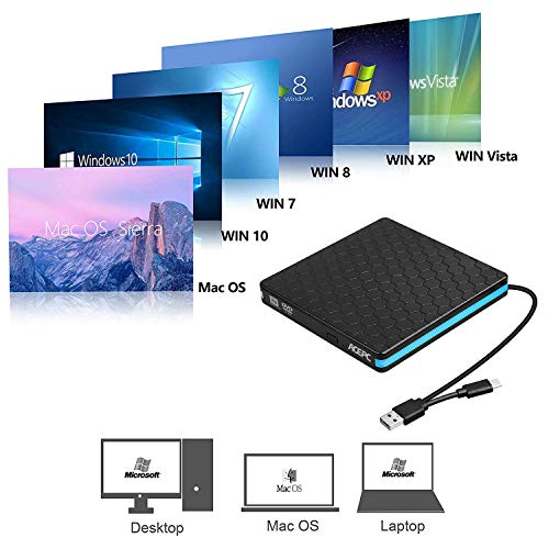 External DVD Drive,ACEPC Optical Drive with USB 3 0 & USB C for Desktop PC  Laptop Superdrive External CD DVD+/- RW Burner Writer Optical Drive Support
