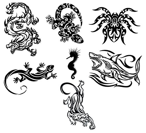 Assorted Tribal Animals Temporary Tattoos / Set of 7