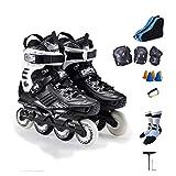 YANGXIAOYU Inline Skates, 3D Aluminum Alloy Bracket Inline Skates Set Black White Suitable for Men and Women Boys Girls (Color : Black, Size : 43 EU/10 US/9 UK/26.5cm JP)