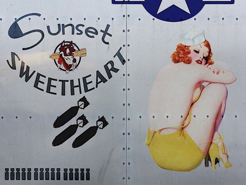 Sunset Sweetheart Metal Sign, WWII Airplane Nose Art, Pinup Girl, Vintage Decor
