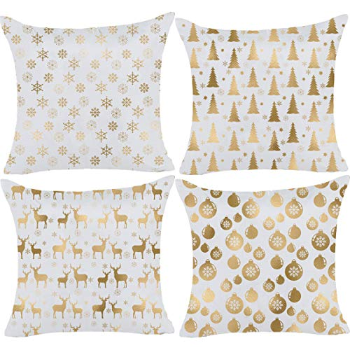 misaya Bronzing Flannelette Home Pillowcase 18x18 Decorative Cushion Pillow Cover Gold Throw Pillow Covers Set of 4 Snowflake & Christmas Tree & Elk & Bell