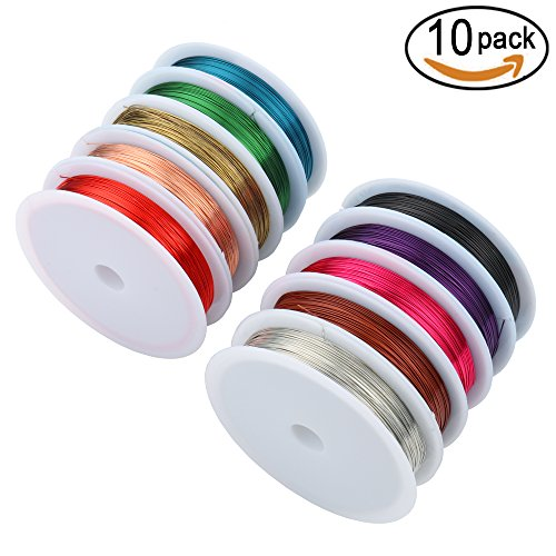 SOTOGO 10 Rolls Jewelry Wire 0.4MM Uncoated Copper Wire Tarnish Resistant Pure Dead Soft Copper Wire Jewelry Making Wire Roll for Crafts Beading Jewelry Making, 10 Colors 109 Yard 26 Gauge