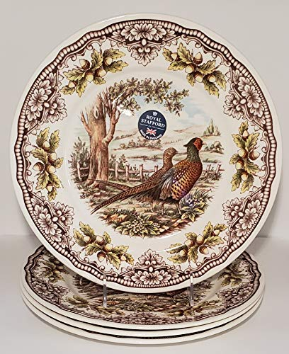 Set of 4, The Victorian English Pottery Woodland Pheasant Dinner Plate Thanksgiving Harvest Multi-Color (Harvest Dinnerware)