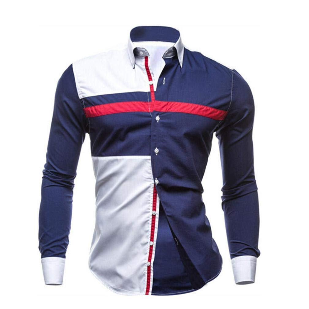 Pattern Personalised Design Button V Neck Pocket England UK Sale Cotton Coat XXL Color : White, Size : Large Mens Polo Shirts Long Sleeve Top Casual Slim Fit