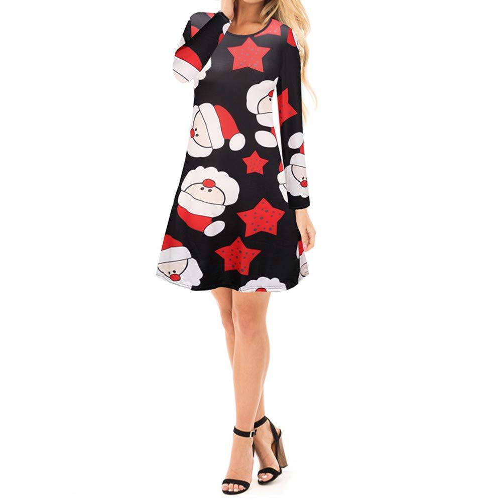 50c212f25abf Qmber Kleider Damen Kleid 1950er Vintage Retro Brautjungfernkleid Petticoat  Lange Ärmel Dress Ballkleid Hepburn Cocktailkleid Rockabilly Herbst Winter,  ...