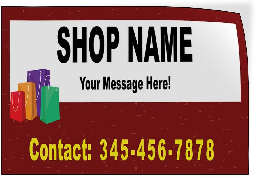 Custom Door Decals Vinyl Stickers Multiple Sizes Shop Name Message Here Contact Business Shop Name Outdoor Luggage /& Bumper Stickers for Cars Red 66X44Inches 1 Sticker