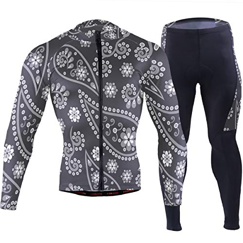 Paisley Indian Cucumbe Men's Cycling Jersey Set Breathable Quick-Dry MTB Road Bike Luxury Black