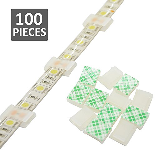Strip Light Mounting Clips Self-Adhesive Strip Brackets Holder,100-Pack Clamps Fix Light Strip 8mm 10mm 12mm (for 10mm(3/8