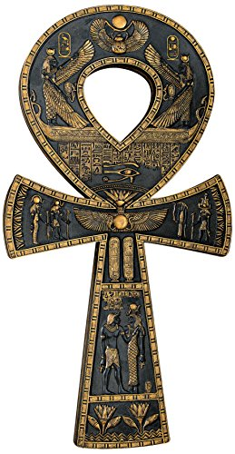 Black Sculpture Design - Design Toscano Ancient Ankh Egyptian Decor Wall Sculpture Plaque, 16 Inch, Polyresin, Black and Gold