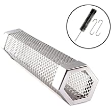 "hothuimin Pellet Smoker Tube Perforated Stainless Steel BBQ Smoke Generator to Add Smoke Flavor to Grilled Foods 12"" Cuboid (Hexagon)"