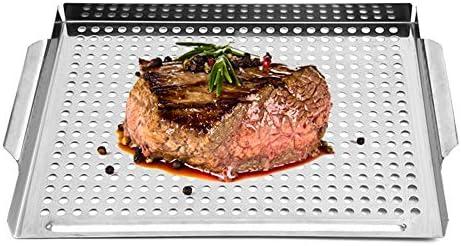 ukoudadao9haowanh Plateau de cuisson en acier inoxydable idéal pour barbecue, poissons, légumes et plus (argent)