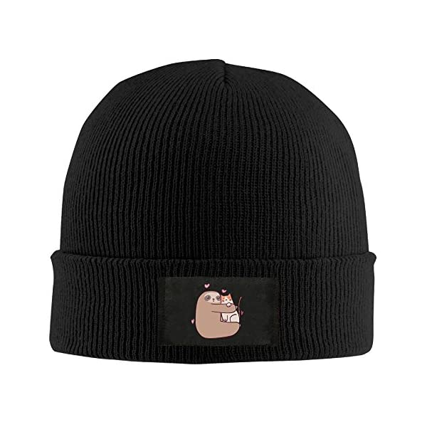 Cool Sloth Loves Cat Hipster Skull Watch Cap -