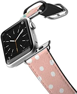 Casetify Floral Flower Bands for Apple Watch Bands 38mm 42mm with Silver Stainless Steel Buckle Replacement Band for iWatch Apple Watch Series 4 Series 3 Series 2 Series 1 (Florals & Peach Polka Dot)