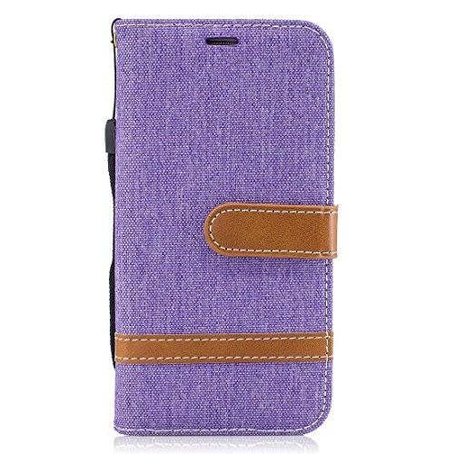 Samsung Flip Bookstyle Protection Avec Denim Téléphone En Pliable Galaxy S7 Couverture Fentes Mobile Cuir Cartes Hozor De Pour Case Cas Case Lila Stand Fonction Étui Portefeuille dICwUnq