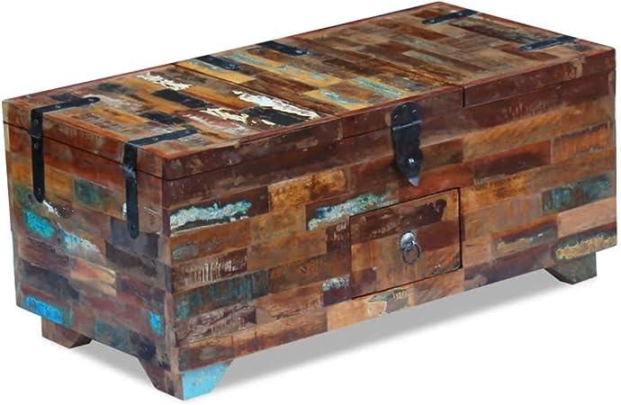 Tuduo Caja de Mesa de café de Madera Maciza de recuperación 80 x 40 x 35 cm diseño único, Moderno y Elegante Mesa de café: Amazon.es: Hogar
