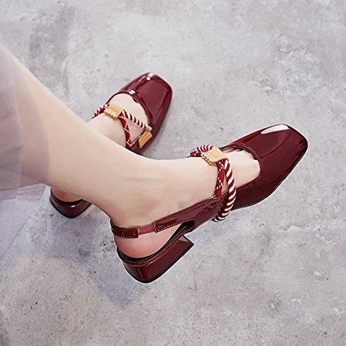 SOHOEOS Nueva Toe señoras plataforma cuero verano cerrado Rojo mujeres de de sandalias para rojo xrFfwHx
