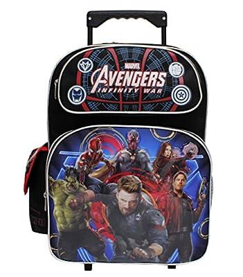 Marvel Avengers Infinity War Star-Lord & Captian America Black Large Boys' Rolling School Backpack
