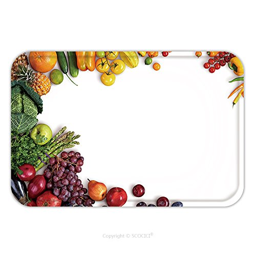 Flannel Microfiber Non-slip Rubber Backing Soft Absorbent Doormat Mat Rug Carpet Healthy Eating Background Studio Photography Of Different Fruits And Vegetables On White Backdrop 231009757 for Indoor/ - Frozen Photography Background